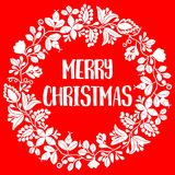 Merry Christmas vector card with white wreath on red background Royalty Free Stock Photo