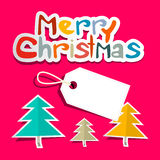 Merry Christmas. Vector Colorful Paper Cut Title Stock Photo