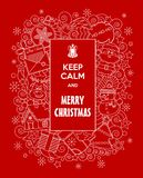 Merry Christmas! Vector Doodles Illustration Keep Calm And Merry Christmas With Cute Cartoon Characters. . Royalty Free Stock Photos
