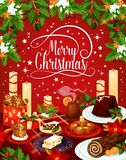 Merry Christmas vector eve dinner greeting card royalty free illustration