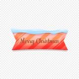 Merry Christmas. Vector Festive Banner Isolated on White Background. Colorful Banner with Snow on Top. Ribbon Colorful. Sign with Lines. Web Icon. Creative royalty free illustration