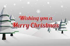 Merry christmas vector with fir trees Royalty Free Stock Images