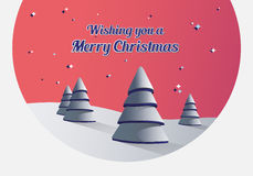 Merry christmas vector with fir trees Royalty Free Stock Photo