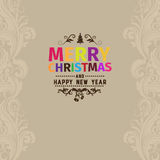 Merry Christmas vector greeting card made with various color for each letter. Happy New Year wish greeting. Background has sandy beige color with light beige Stock Images
