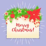 Merry Christmas vector greeting card. The letter is decorated with Christmas decorations Stock Photography