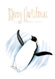 Merry Christmas vector greeting card with penguin Stock Image