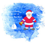 Merry Christmas vector greeting card with Santa Claus. Royalty Free Stock Photo