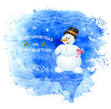 Merry Christmas vector greeting card with snowman. Royalty Free Stock Photo