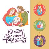 Merry Christmas. Vector greeting card. Virgin Mary, baby Jesus a royalty free illustration