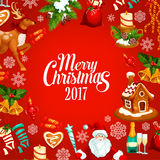 Merry Christmas 2017 vector greeting poster Royalty Free Stock Images