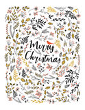 Merry Christmas vector greetings illustration Stock Photography