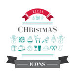 Merry christmas vector with icons Stock Photos