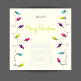 Merry Christmas! Vector illustrated greetingcard with electric lamp garland. Royalty Free Stock Photos