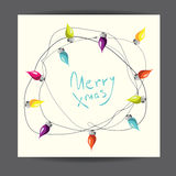 Merry Christmas! Vector illustrated greetingcard with electric lamp garland. Royalty Free Stock Images