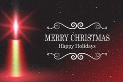 Merry Christmas, Vector illustration candle flame fire light with falling snow. Stock Images