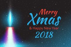 Merry Christmas, Vector illustration candle flame fire light with falling snow. Stock Photos