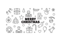 Merry Christmas vector illustration. Creative xmas line banner. Merry Christmas vector horizontal illustration. Creative xmas banner made outline icons in circle royalty free illustration