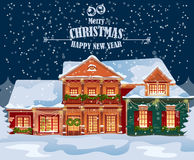 Merry Christmas vector illustration. Snowy town at holiday eve. Merry Christmas and Happy New Year greeting card Royalty Free Stock Photo