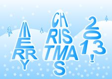Merry christmas 2013. Vector illustration of the writing Merry Christmas as Christmas trees in winter landscape Royalty Free Stock Photo