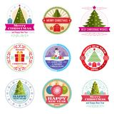 Merry christmas vector labels. Winter holiday retro emblems and logos. Flat christmas label, new year 2018 emblem illustration Royalty Free Stock Photos