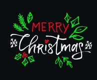 Merry Christmas vector lettering with beautiful colored ornaments black background vector illustration