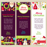Merry Christmas Vector Party Invitation Template Flyer Set Stock Images