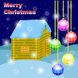 Merry Christmas vector postcard. Comfortable little house in snowy hills with bright Christmas toys on a bead rope Stock Images