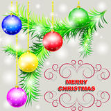 Merry Christmas vector postcard. Green branch of fir tree with bright Christmas toys Stock Images