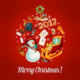 Merry Christmas 2017 vector poster, greeting card Royalty Free Stock Photos