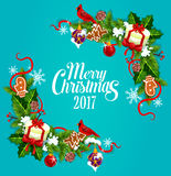 Merry Christmas 2017 vector poster, greeting card Royalty Free Stock Image