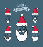 Merry christmas vector with santa beards Stock Images