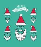 Merry christmas vector with santa beards Royalty Free Stock Photos