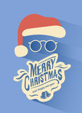 Merry christmas vector with santa hat Royalty Free Stock Image