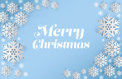 Merry christmas vector with snowflakes Stock Photo