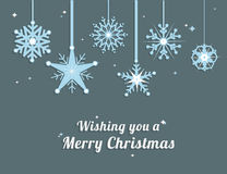 Merry christmas vector with snowflakes Royalty Free Stock Image
