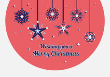 Merry christmas vector with snowflakes Royalty Free Stock Photo