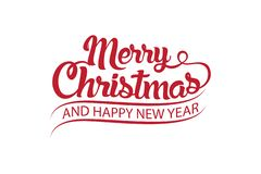 Merry Christmas vector text Calligraphic Lettering design card template royalty free illustration