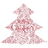 Merry Christmas vector text Calligraphic Lettering the form of a Christmas tree.  Royalty Free Stock Image