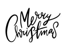 Merry Christmas vector text. Calligraphic lettering. Modern brush calligraphy. Design template for holiday greeting gift poster, banner, web royalty free illustration