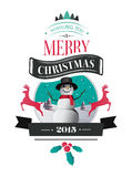 Merry christmas vector with text and icons Royalty Free Stock Photography