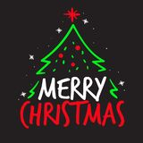 Merry Christmas vector typography concept with Christmas tree royalty free illustration