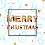 Merry Christmas. Vector unique artistic font brush strokes background Stock Photos