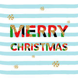 Merry Christmas. Vector unique artistic font brush strokes background. With glitter elements for card, poster, brochure, flyer, web and other users Stock Images