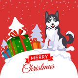 Merry Christmas vector. Year of the dog stock illustration