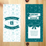 Merry Christmas vertical banner with pattern on wooden texture background. Stock Images