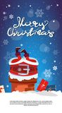 Merry Christmas Vertical Banner With Santa Claus Stack In Chimney Holiday Poster Design With Copy Space Royalty Free Stock Photos