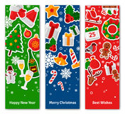 Merry Christmas Vertical Banners Set With Flat Sticker Icons. Stock Images