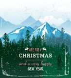 Christmas and New Year greeting card. Merry Christmas and a very happy New Year greeting card Stock Images
