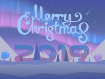 Merry Christmas vibrant gradient greeting card stock illustration