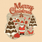 Merry Christmas vintage background with Typography and Christmas decoration, Lettering. Greeting card vector illustration
